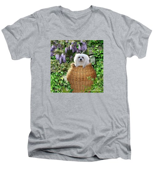 Men's V-Neck T-Shirt featuring the mixed media Snowdrop In A Basket by Morag Bates