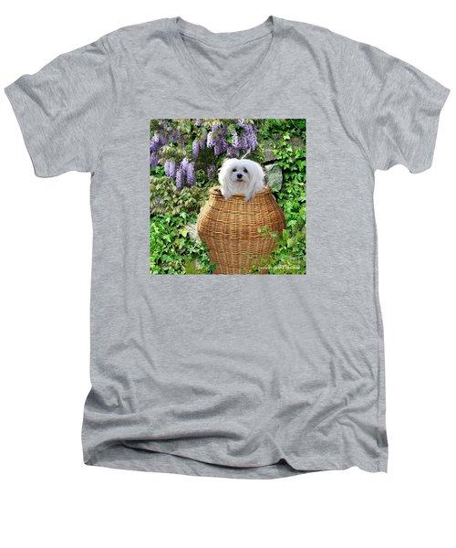 Snowdrop In A Basket Men's V-Neck T-Shirt