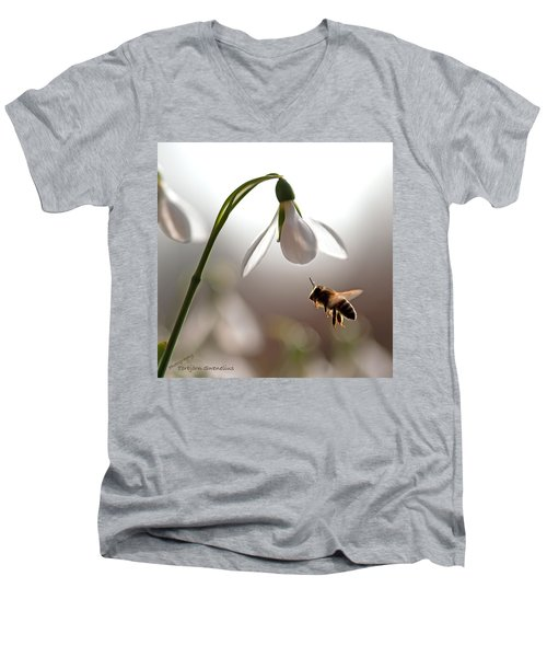 Snowdrops And The Bee Men's V-Neck T-Shirt by Torbjorn Swenelius
