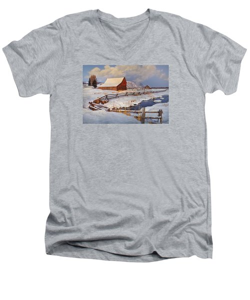 Men's V-Neck T-Shirt featuring the photograph Snowed In by Priscilla Burgers