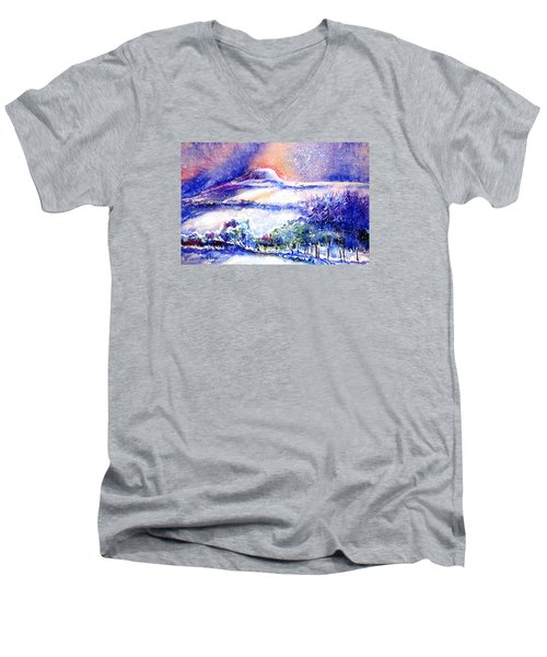 Snowstorm Over Eagle Hill Hacketstown  Men's V-Neck T-Shirt by Trudi Doyle