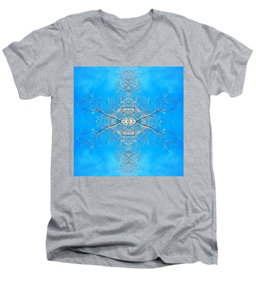 Snowy Branches In The Sky Abstract Art Photo Men's V-Neck T-Shirt