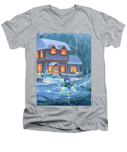 Men's V-Neck T-Shirt featuring the painting Snowy Bright Night by Michael Humphries
