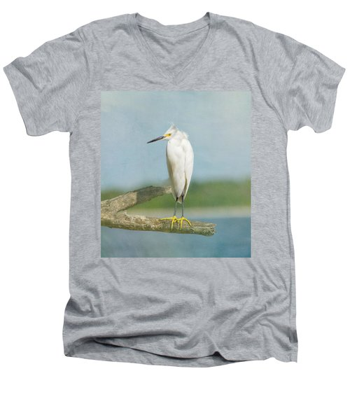 Snowy Egret Men's V-Neck T-Shirt