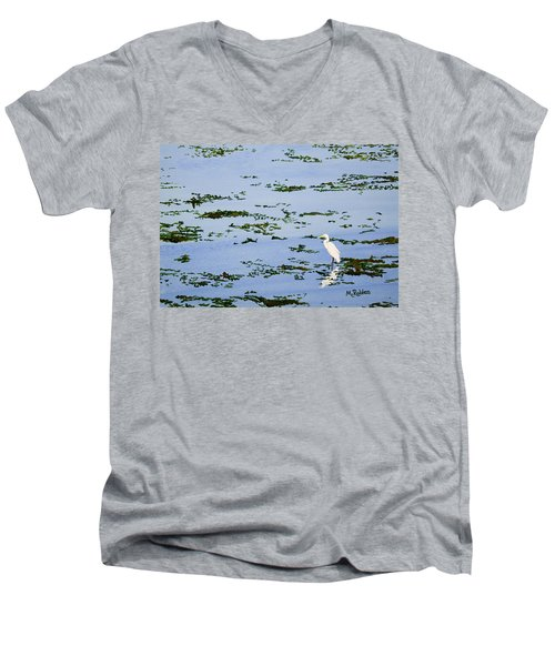 Snowy Egret Men's V-Neck T-Shirt by Mike Robles