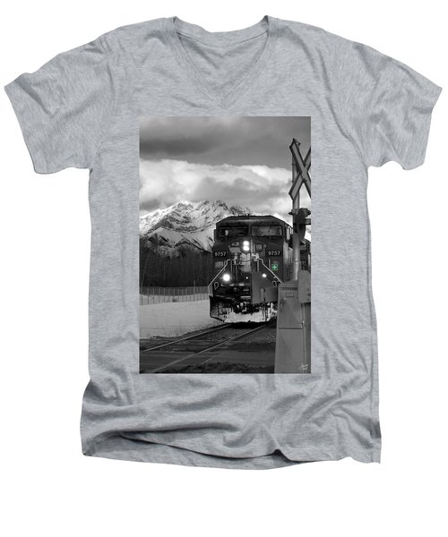 Snowy Engine Through The Rockies Men's V-Neck T-Shirt