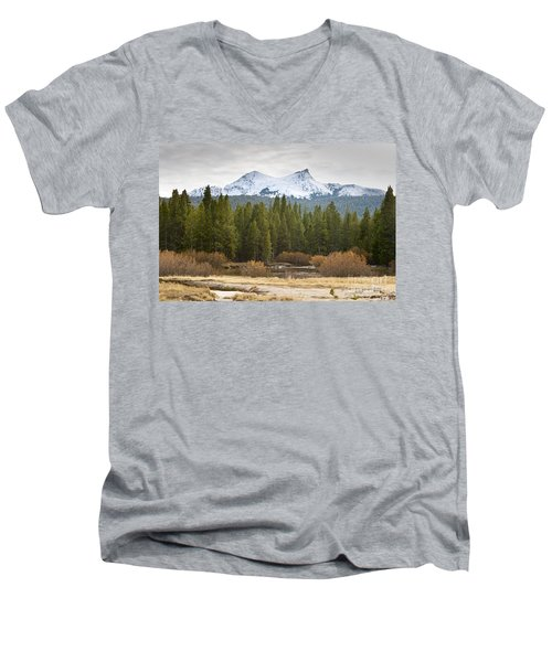 Men's V-Neck T-Shirt featuring the photograph Snowy Fall In Yosemite by David Millenheft