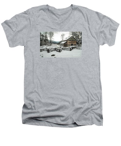 Men's V-Neck T-Shirt featuring the photograph Snowy Log Cabin by Debbie Green