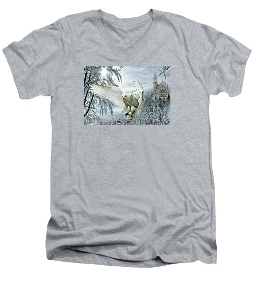 Snowy Owl Men's V-Neck T-Shirt by Morag Bates