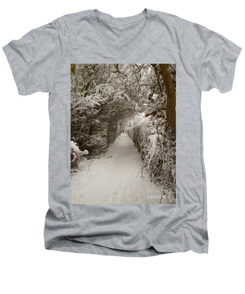 Men's V-Neck T-Shirt featuring the photograph Snowy Path by Vicki Spindler