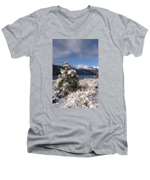 Snowy Pine  Men's V-Neck T-Shirt by Duncan Selby