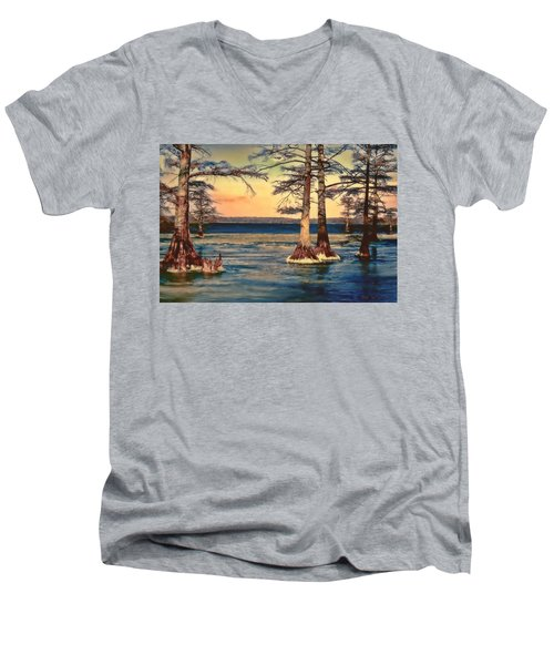 Snowy Reelfoot Men's V-Neck T-Shirt by Bonnie Willis