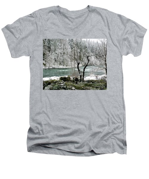 Snowy River And Bank Men's V-Neck T-Shirt by Belinda Greb