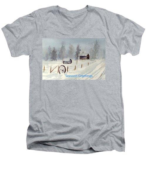 Snowy Road Men's V-Neck T-Shirt by Christine Lathrop
