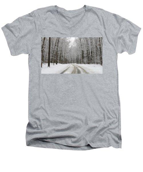 Snowy Road In Oak Openings 7058 Men's V-Neck T-Shirt by Jack Schultz