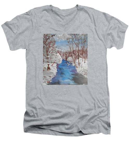 Snowy Stream Men's V-Neck T-Shirt