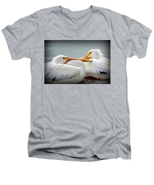 Snuggly Pelicans Men's V-Neck T-Shirt