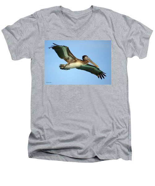 Men's V-Neck T-Shirt featuring the photograph Soaring Pelican by Suzanne Stout