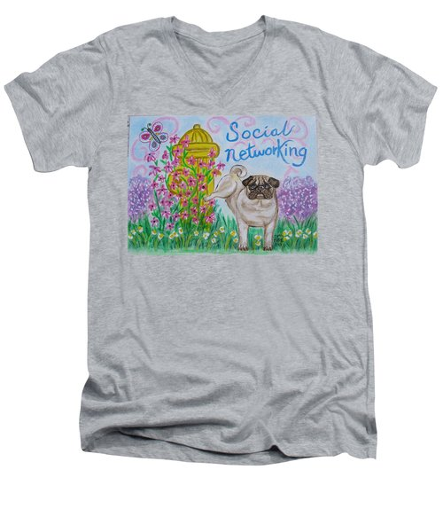 Men's V-Neck T-Shirt featuring the painting Social Networking Pug by Diane Pape