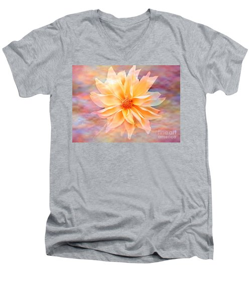 Men's V-Neck T-Shirt featuring the photograph Soft Delightful Dahlia by Judy Palkimas