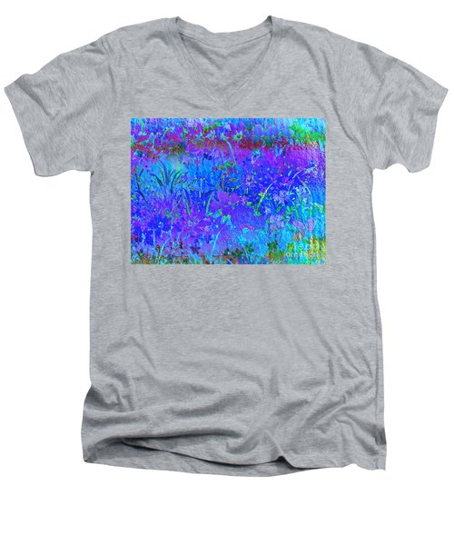 Men's V-Neck T-Shirt featuring the photograph Soft Pastel Floral Abstract by Judy Palkimas
