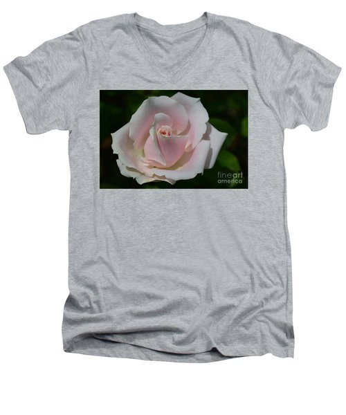 Men's V-Neck T-Shirt featuring the photograph Soft Pink Rose by Jeannie Rhode