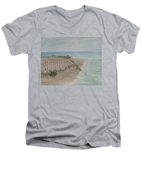 Men's V-Neck T-Shirt featuring the painting Soft Sea by Barbara McDevitt