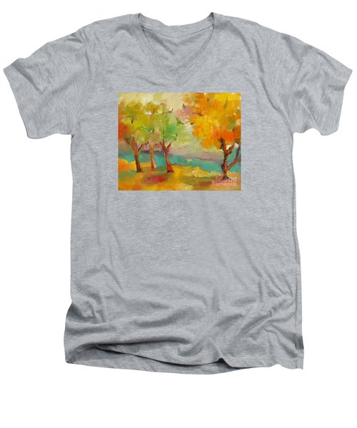Soft Trees Men's V-Neck T-Shirt by Michelle Abrams