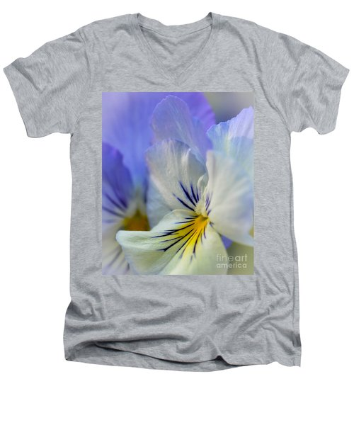 Soft White Pansy Men's V-Neck T-Shirt by Amy Porter