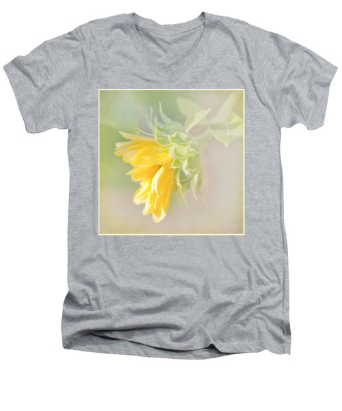 Men's V-Neck T-Shirt featuring the photograph Soft Yellow Sunflower Just Starting To Bloom by Patti Deters