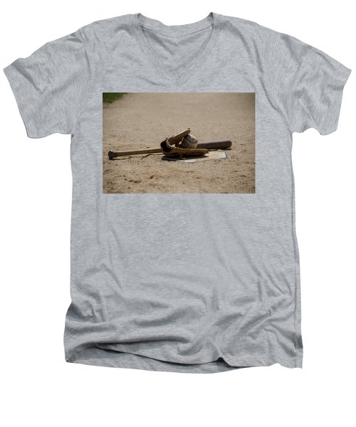 Softball Men's V-Neck T-Shirt by Bill Cannon