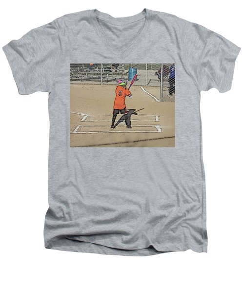 Men's V-Neck T-Shirt featuring the photograph Softball Star by Michael Porchik