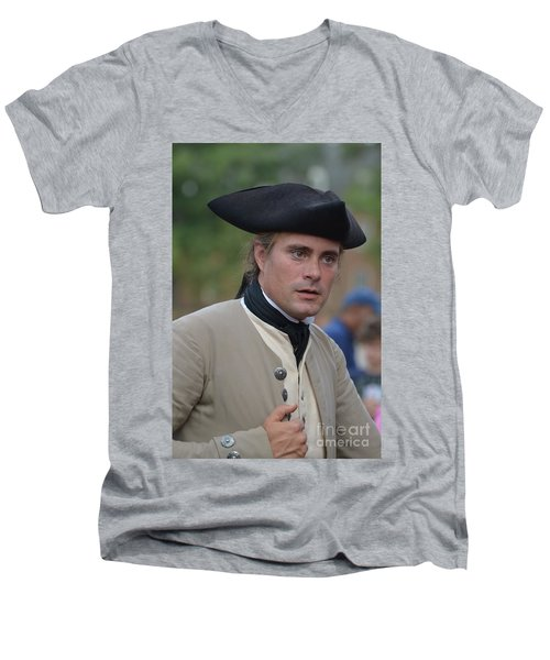 Soldier In Colonial Williamsburg Men's V-Neck T-Shirt