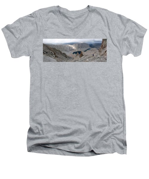 Men's V-Neck T-Shirt featuring the photograph Solitary Hiker Panorama by Alan Socolik