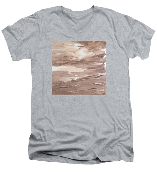 Men's V-Neck T-Shirt featuring the painting Solitude by Susan  Dimitrakopoulos