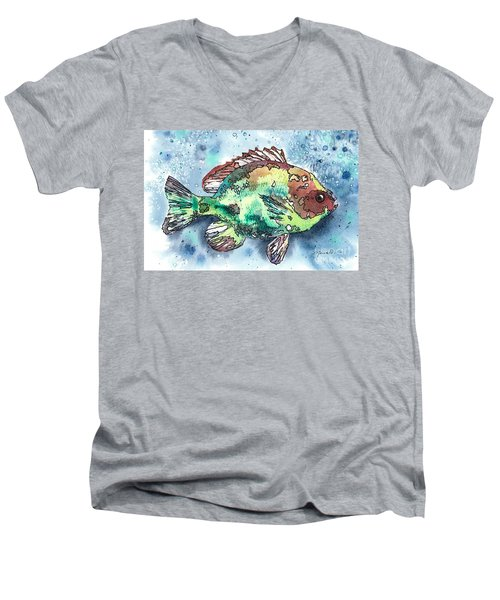 Something's Fishy Two Men's V-Neck T-Shirt by Barbara Jewell