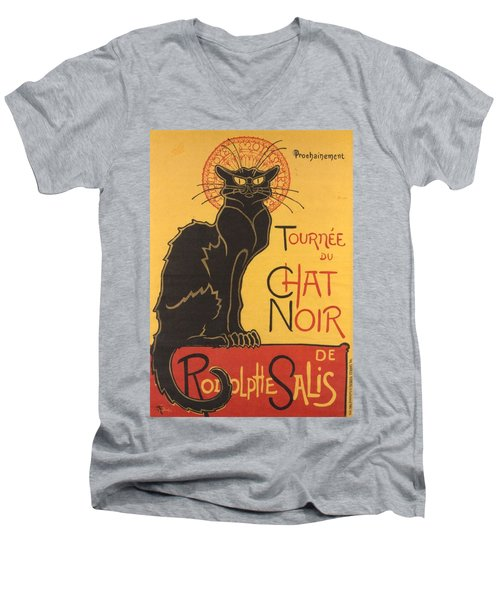 Soon The Black Cat Tour By Rodolphe Salis  Men's V-Neck T-Shirt