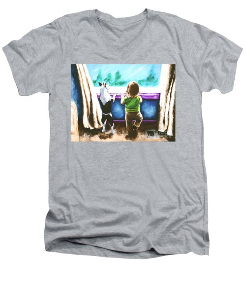 Waiting For Daddy Men's V-Neck T-Shirt by Jackie Carpenter