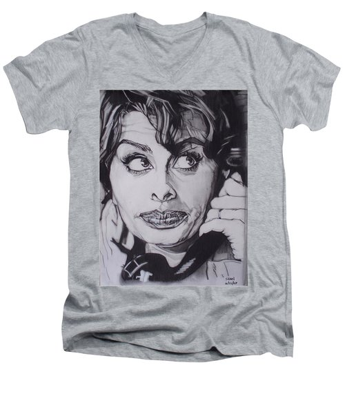Sophia Loren Telephones Men's V-Neck T-Shirt