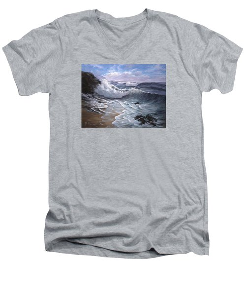 Sounding Waves At Big Sur Men's V-Neck T-Shirt