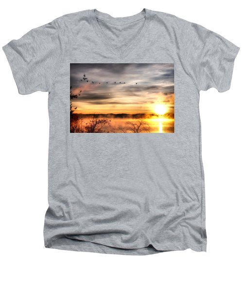 Men's V-Neck T-Shirt featuring the photograph South Carolina Morning by Lynne Jenkins