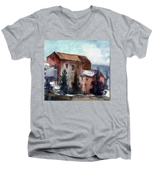 Men's V-Neck T-Shirt featuring the painting South by Mikhail Savchenko