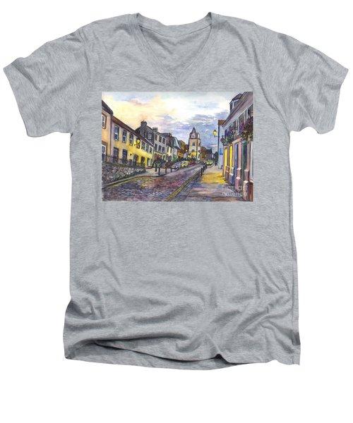 Men's V-Neck T-Shirt featuring the painting Nightfall At South Queensferry Edinburgh Scotland At Dusk by Carol Wisniewski