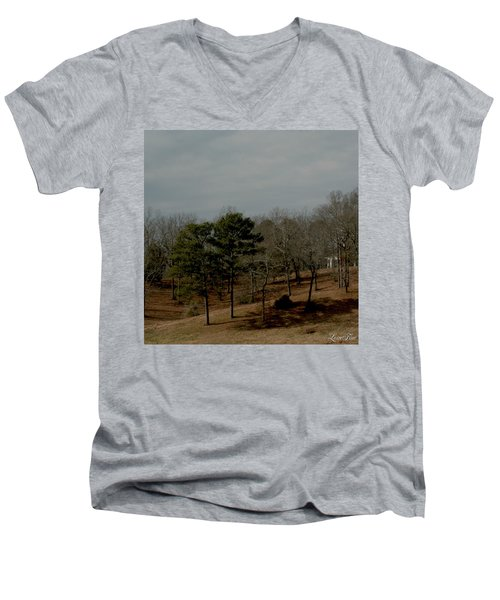 Men's V-Neck T-Shirt featuring the photograph Southern Landscape by Lesa Fine