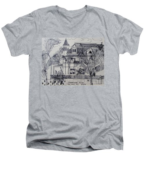 Southernmost House  Key West Florida Men's V-Neck T-Shirt by Diane Pape