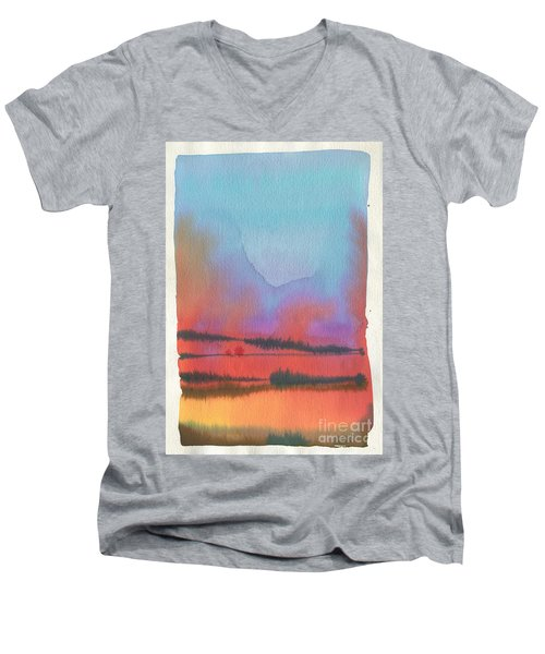 Men's V-Neck T-Shirt featuring the painting Southland by Donald Maier