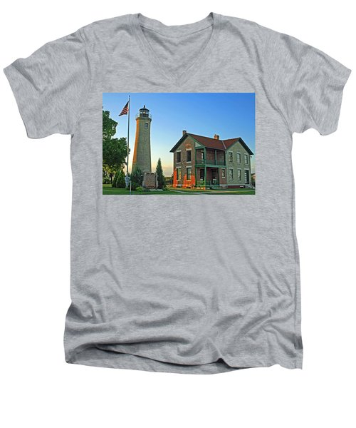 Men's V-Neck T-Shirt featuring the photograph Southport Lighthouse On Simmons Island by Kay Novy