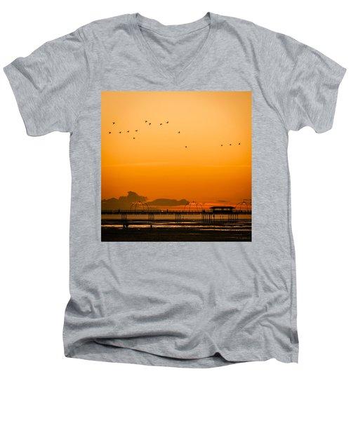 Southport Pier At Sunset Men's V-Neck T-Shirt