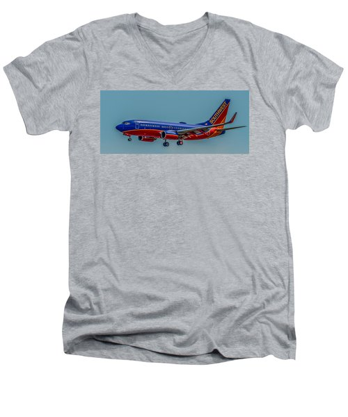 Southwest 737 Landing Men's V-Neck T-Shirt by Paul Freidlund