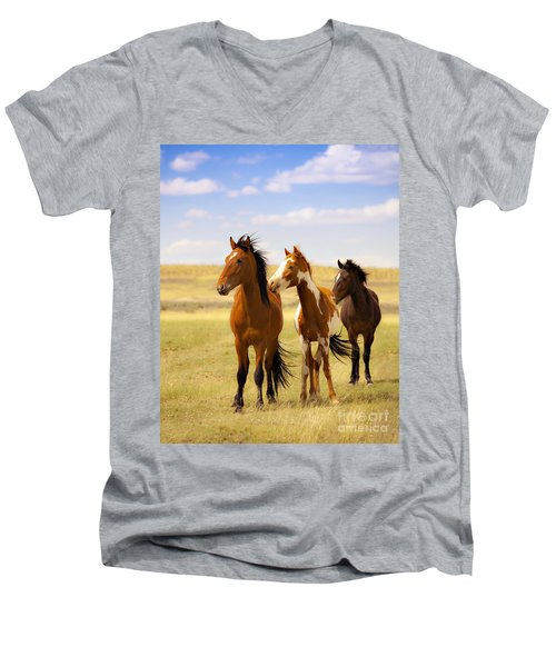 Southwest Wild Horses On Navajo Indian Reservation Men's V-Neck T-Shirt